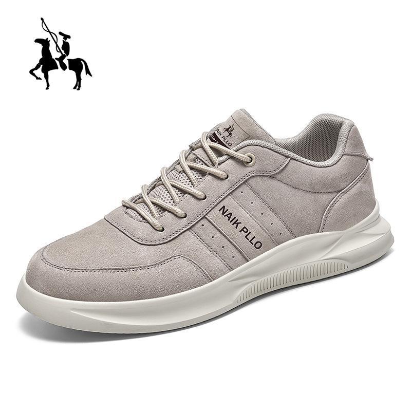 2020 Novos sapatos masculinos de couro genuíno Plano Primavera e Outono homem quadro branco Sapatos Sneakers Casual Running Men