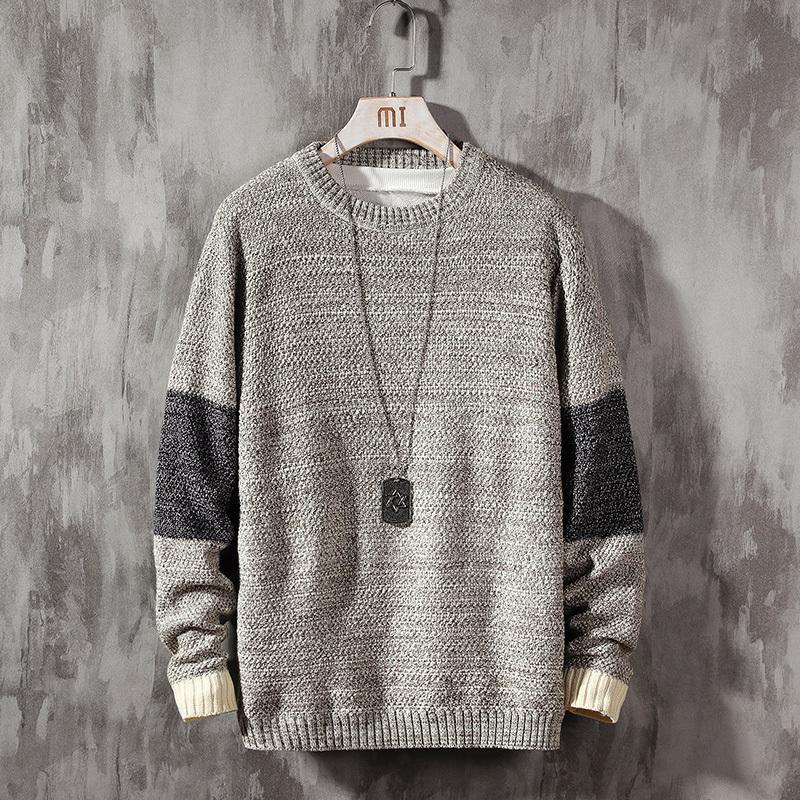 Sonbahar Yeni Süveter erkekler Moda Kontrast Renk Günlük O-boyun Triko Kazak Man Streetwear Sıcak Erkek Giyim M-5XL