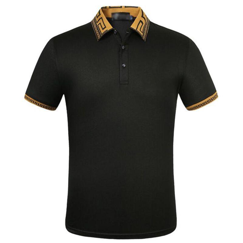 Fashion-Summer Mens Luxury Дизайнерские Рубашки Высокого Качества Хлопка Мужчины Рубашка Поло Повседневная Дышащая Верхняя Одежда Поло Размер M-3XL