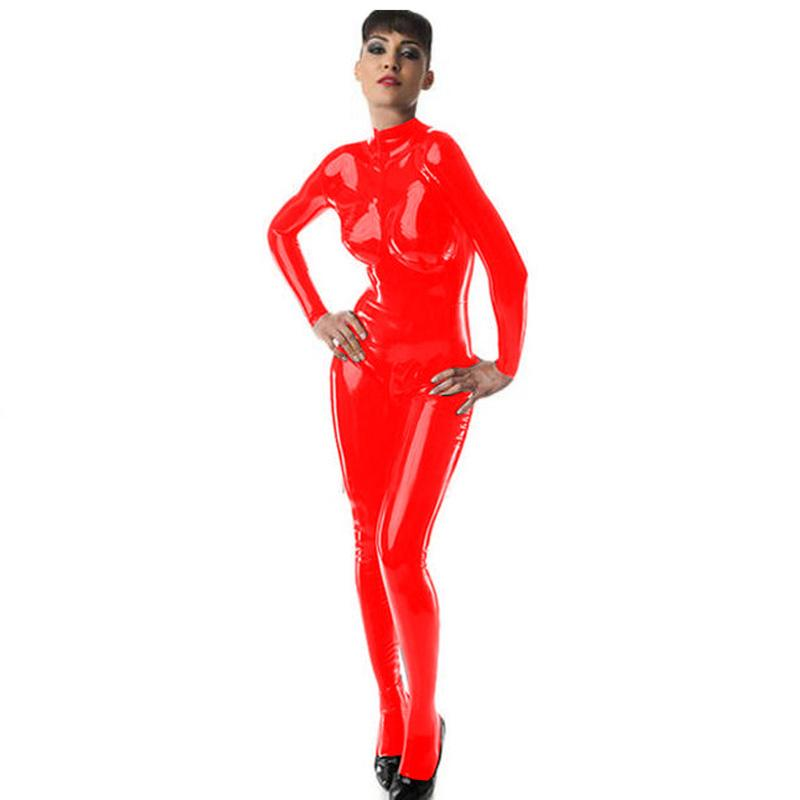 Sexy Hot Women PVC Footed Catsuit Turtleneck Skinny Bodysuit Long Sleeve Jumpsuit Exotic All-match Catwoman Cosplay Costume