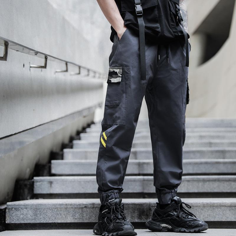 APRILMOMO 2020 bolso solta calça casual de corrida finos primavera e verão roupas rua hip-hop cáqui harém calças dos homens