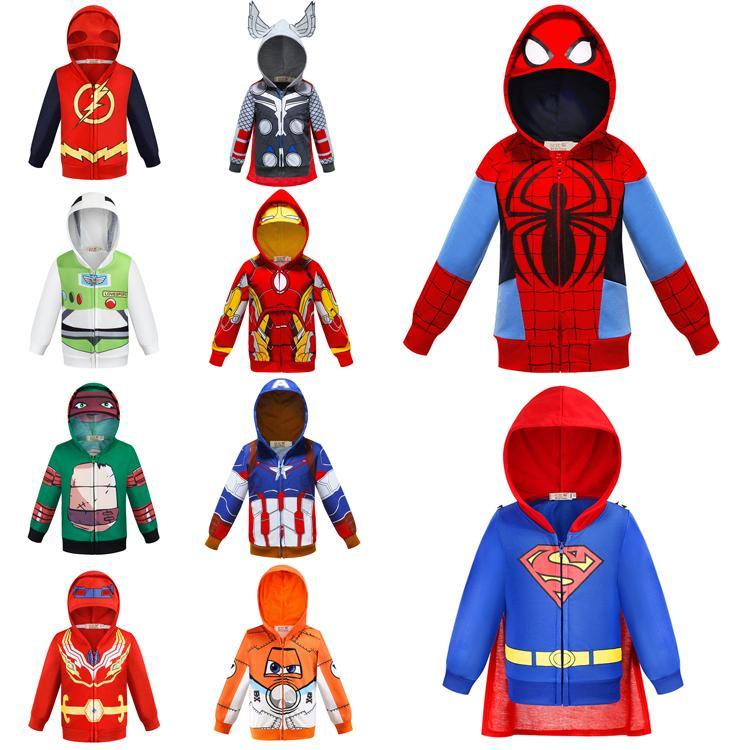 Мальчики толстовки 17 стилей Мстители Marvel Superhero Железный человек Тор Халк Капитан Америка Человек-паук Толстовка для мальчиков Kid Мультфильм Куртка EJY847