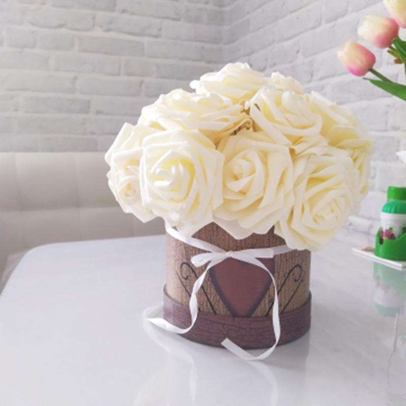 25 رؤساء رغوة روز زهور اصطناعية زهور العروس باقة الديكور المنزلي اكسسوارات الزفاف الديكور الحرفية وهمية زهرة