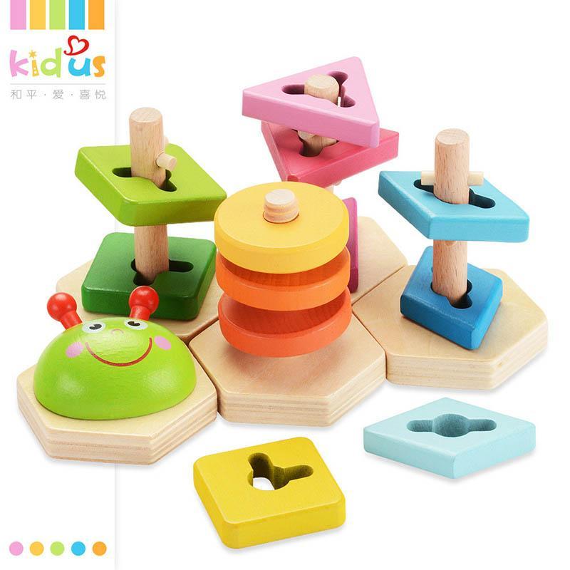 Bebé Educación temprana Puzzle Jigsaw Puzzle Caterpillar Puzzle Forma geométrica con 5 columnas Edificio de juguete educativo para bebé