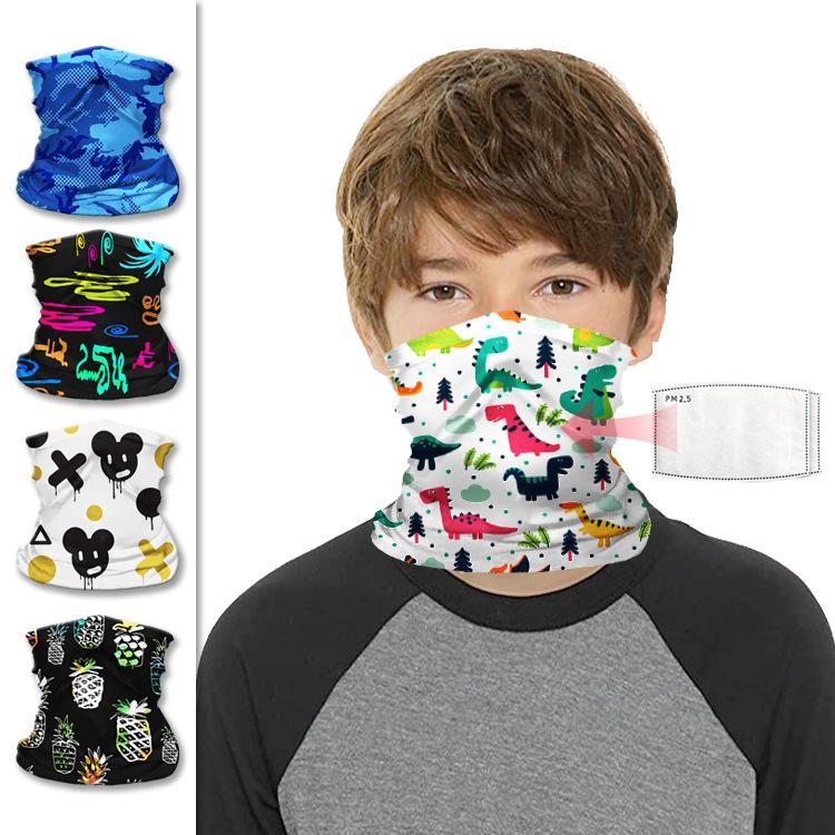 DHL Shipping Kids Bandana Protection Mask Cute Cartoon Neck Gaiter Boys Girls Scarf Non-Slip Breathable Face Cover for Sun UV Cycling B99F