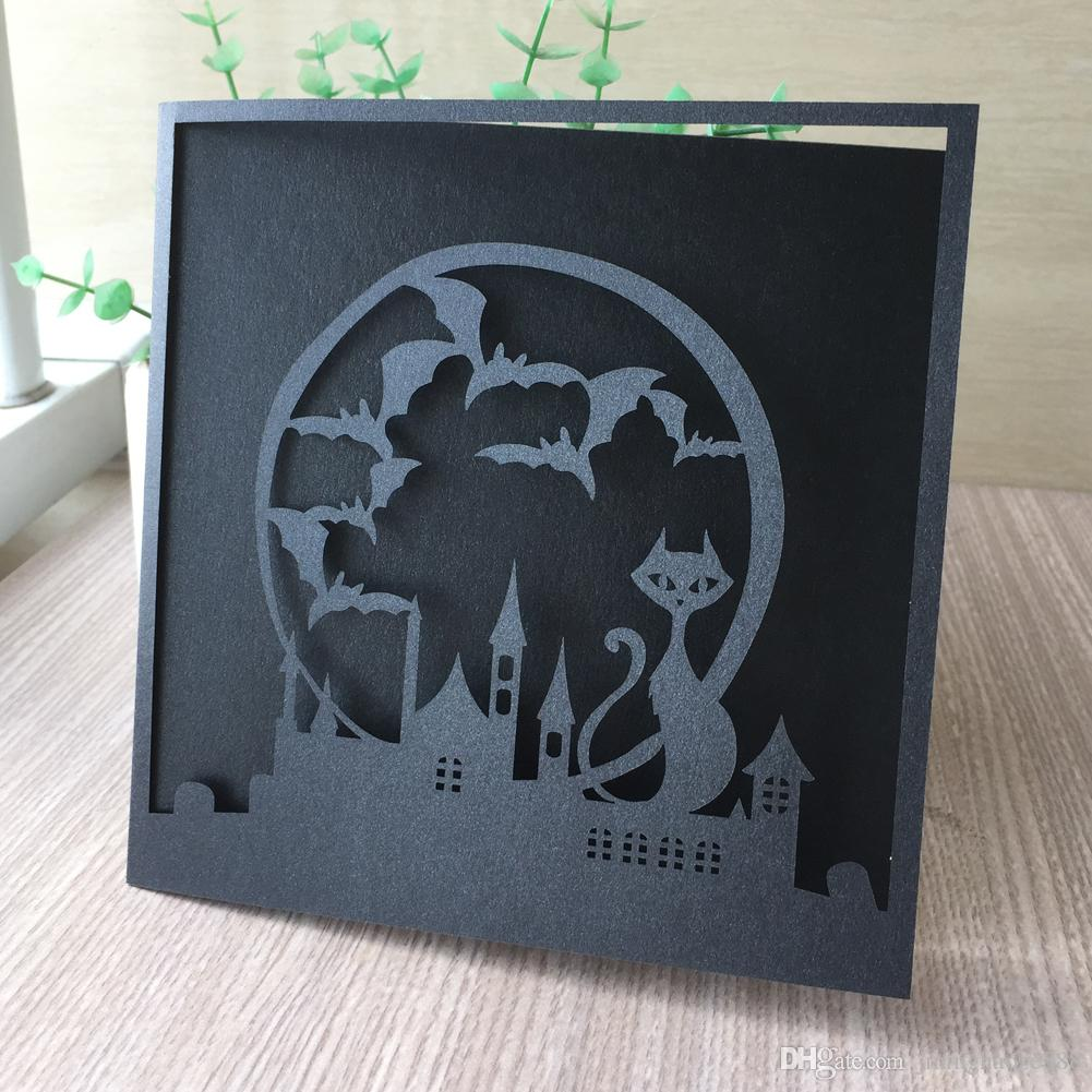 45PCS /lot Hollow Batman and catwoman Wedding Invitations Card Pearl Paper Graduation Birthday Party Valentine's Day Party