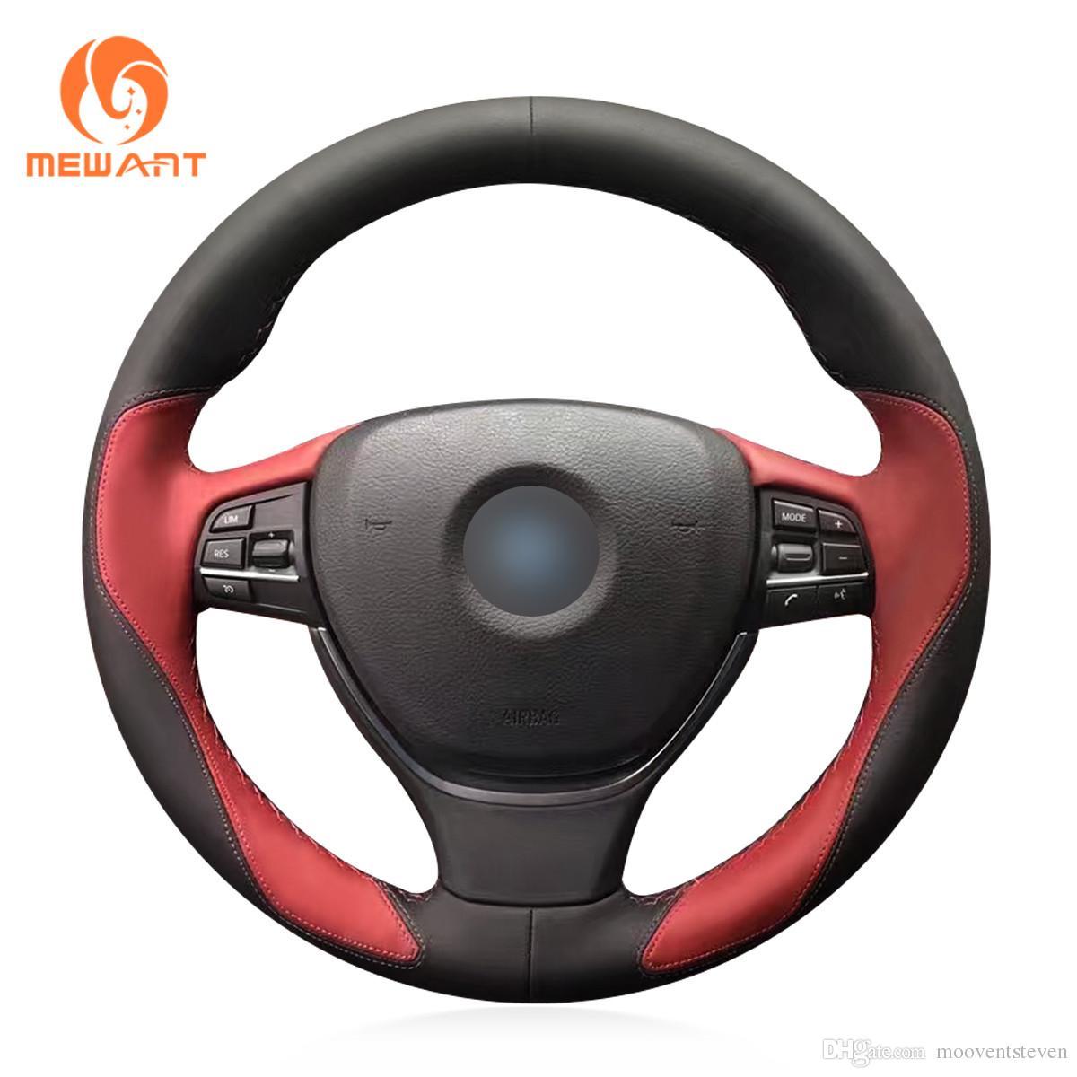 MEWANT Black Wine Red Leather Hand Sew Car Steering Wheel Cover for BMW F10 2014 520i 528i 2013 2014 730Li 740Li 750Li