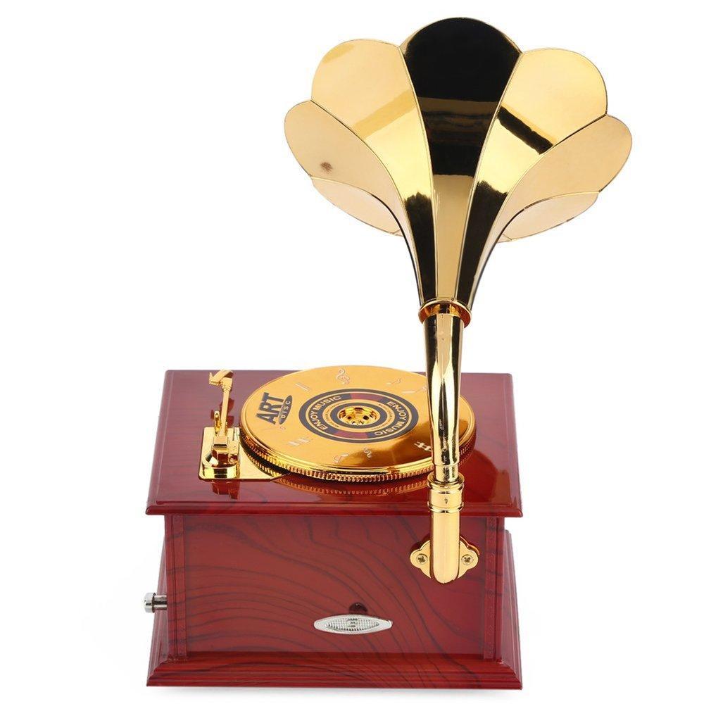 Gramophone en forme de boîte à musique vintage classique de cadeau d'anniversaire Type de manivelle Boîte à musique Mouvement bricolage romantique Cadeau de Noël