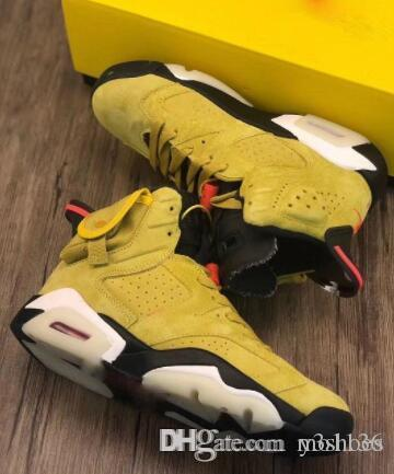 Travis Scott x 6 Houston jaune Amy vert blé Hommes Chaussures de basket-ball Cactus Jack Jumpman baskets Formateurs