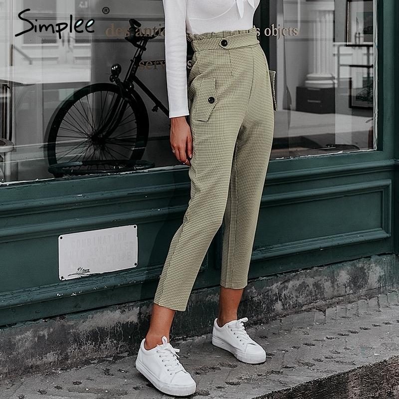 Simplee tela escocesa de los pantalones de trabajo volante de las mujeres de cintura alta pantalones harem de la cremallera de los capris de la vendimia femeninos pantalones botón damas otoño 2019 LY191210
