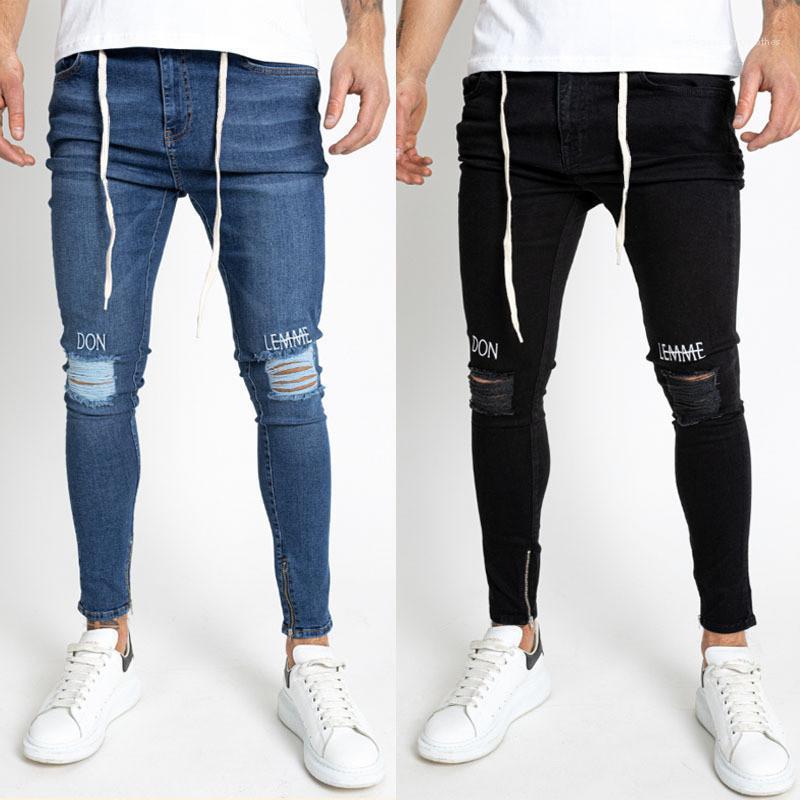 Jeans Holes dünner Brief Stickerei Lange Bleistift-Hosen der Männer 2020 Luxus-Designerkleidung für Herren Neu Ripped