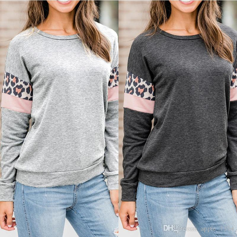 Womens Long Sleeve T Shirt 2019 Print Paneled Round Neck Tank Tops Blouse