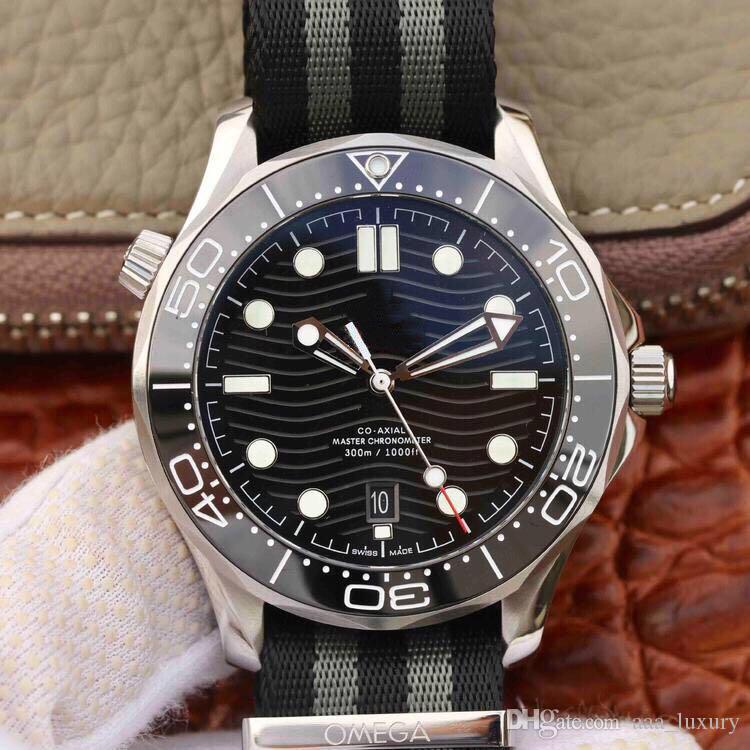 VS совершенно новый Montre DE Luxe керамический циферблат ткани ремешок для часов 42 мм автоматические механические часы водонепроницаемые дизайнерские часы