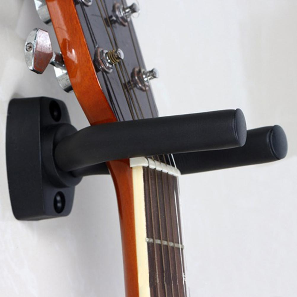 Black Guitar Hanger Hook Holder Wall Mount Stand Rack Bracket Display Strong Fixed Wall Guitar Bass Screws Metal Hanger Accessories