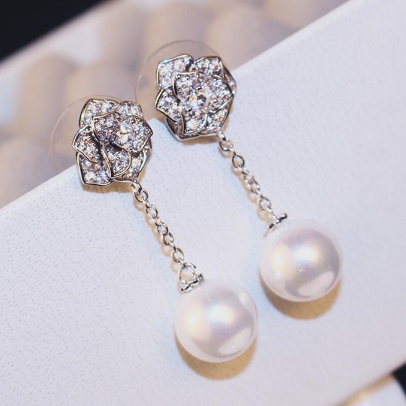 Europea high-end rosa orecchini di perle gioielli di lusso S925 ago d'argento intarsiato zircone orecchini ragazze tendenza della moda orecchini all'ingrosso regalo