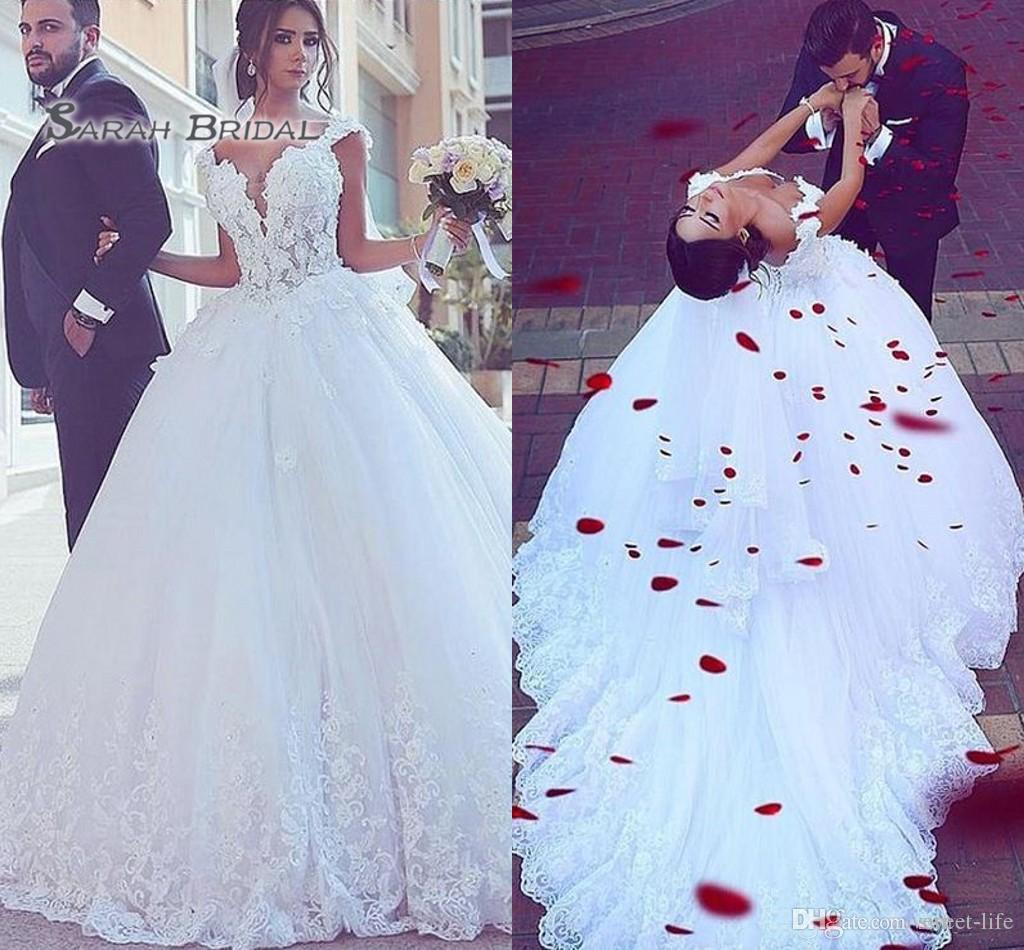 2020 White Boutique Wedding Ball Gown Lace Backless Crystals Bridal Dresses Customed Made Deep V-neck Vestidos De Novia