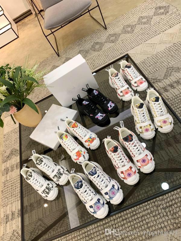 Мужчины Женщины Повседневная обувь Роскошные дизайнерские кроссовки шнуровке обувь для ходьбы дешевые лучшие кожаные платформы rx19050901