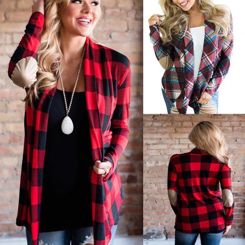 Mode-Femmes Plaid Patchwork Cardigan Plaid Casual Imprimer Cardigan Automne Elbow Patchwork manches longues élégant chandail manteau OOA7158