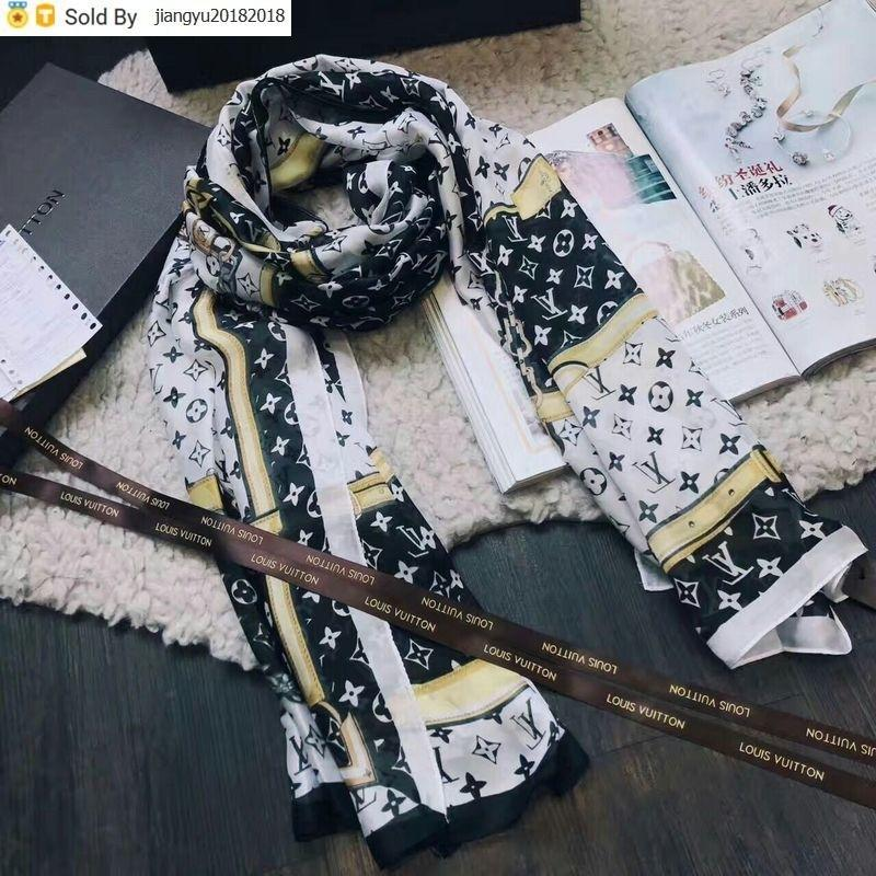 Christmas Gift High Quality 100% Silk Scarf wrap shawl Summer Chain Printing Sun protection Scarves 190*80cm