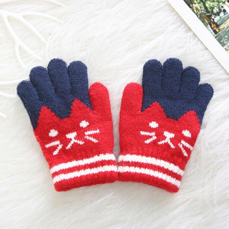 HNZY Winter Childrens Gloves Cute Cartoon Warm Knitted Mittens