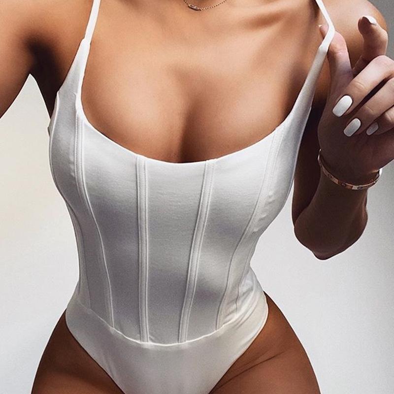 Горячие 2020 европейских и американских новых сексуальных женщин Комбинезоны сплошной цвет U-образный вырез вертикальные колготок