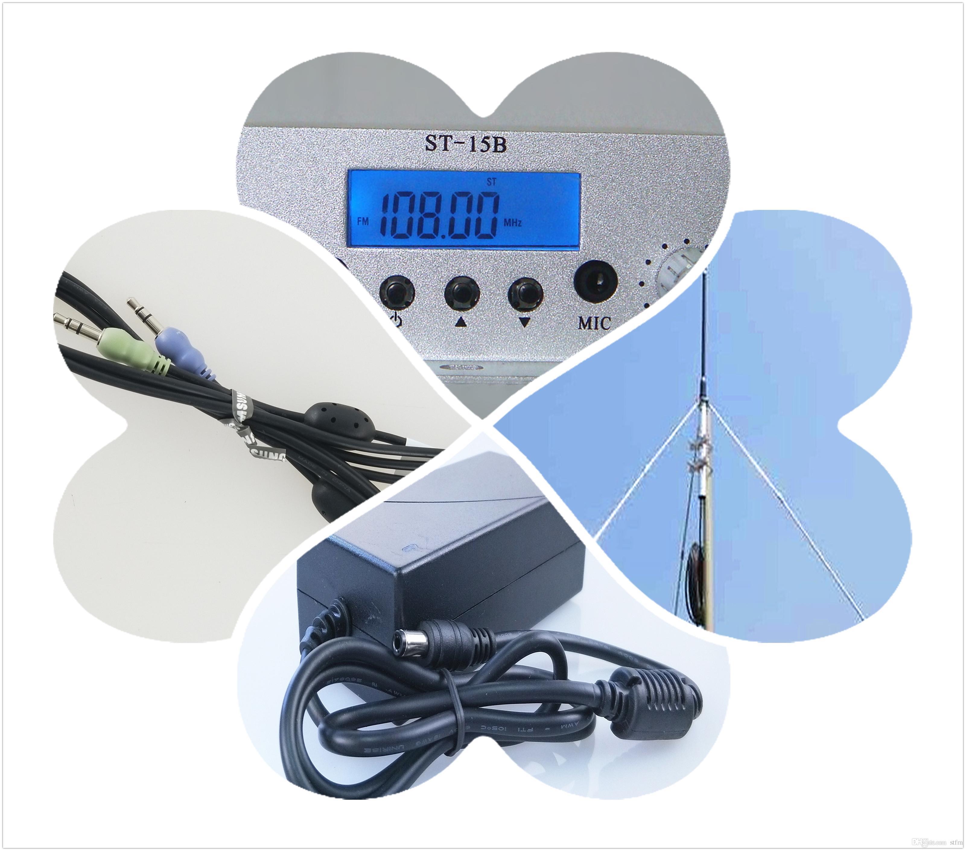 1.5 / 15W FM antenna di trasmissione del trasmettitore GP + cavo + Alimentazione Kit 87--108mhz