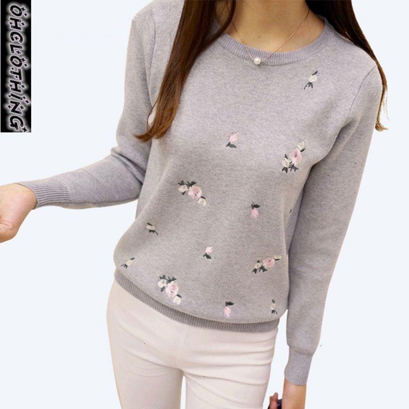 FASHION- Jersey Femmes Pull femmes Broderie en tricot d'hiver et Pull Femme Pull Tricot Jumper Pull Polyester Femme