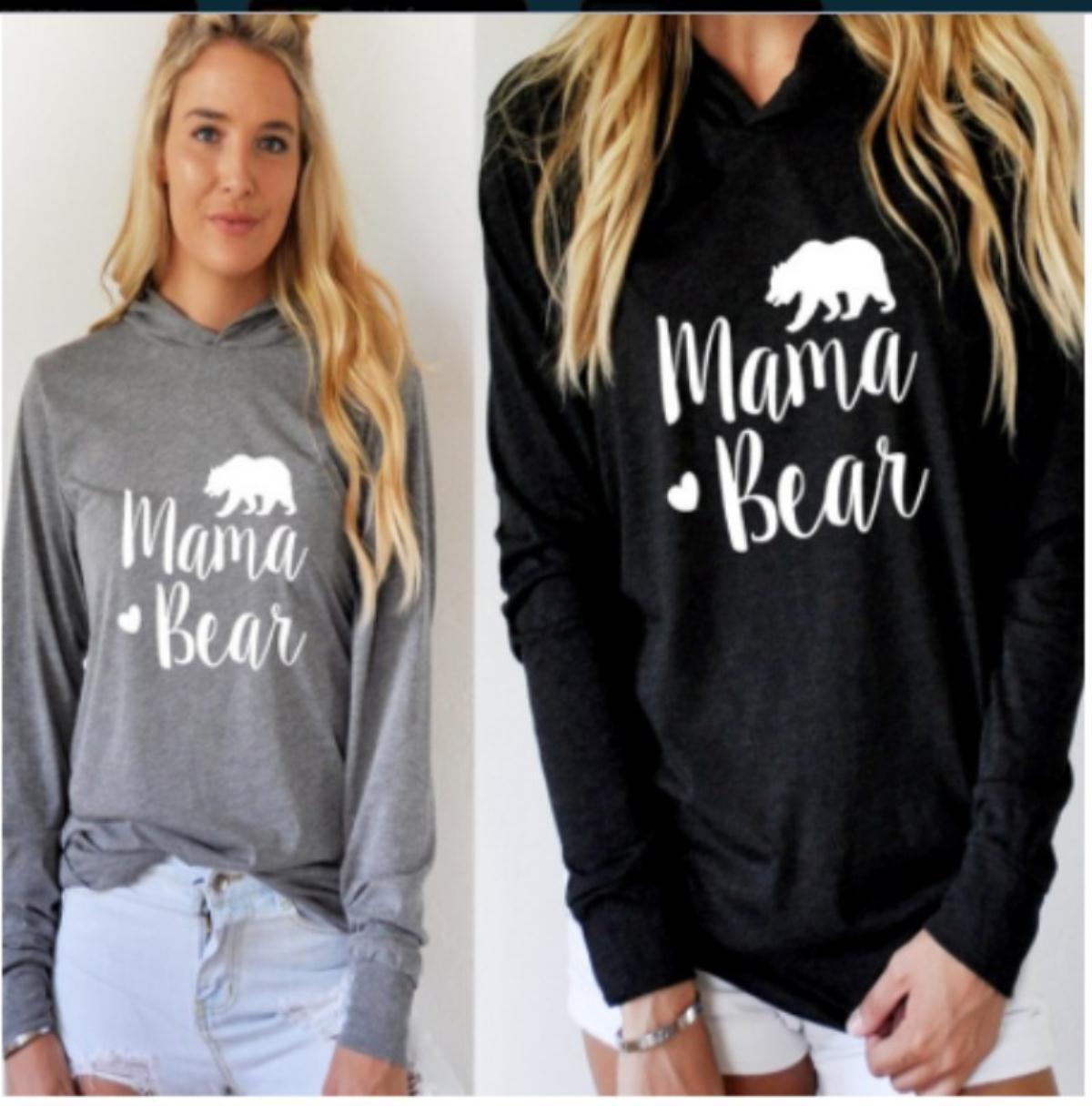 delle donne progettista delle donne supera i T Neri Abbigliamento grigio modo caldo stampa della lettera di Cappuccio manica lunga della stampa maglietta allentata