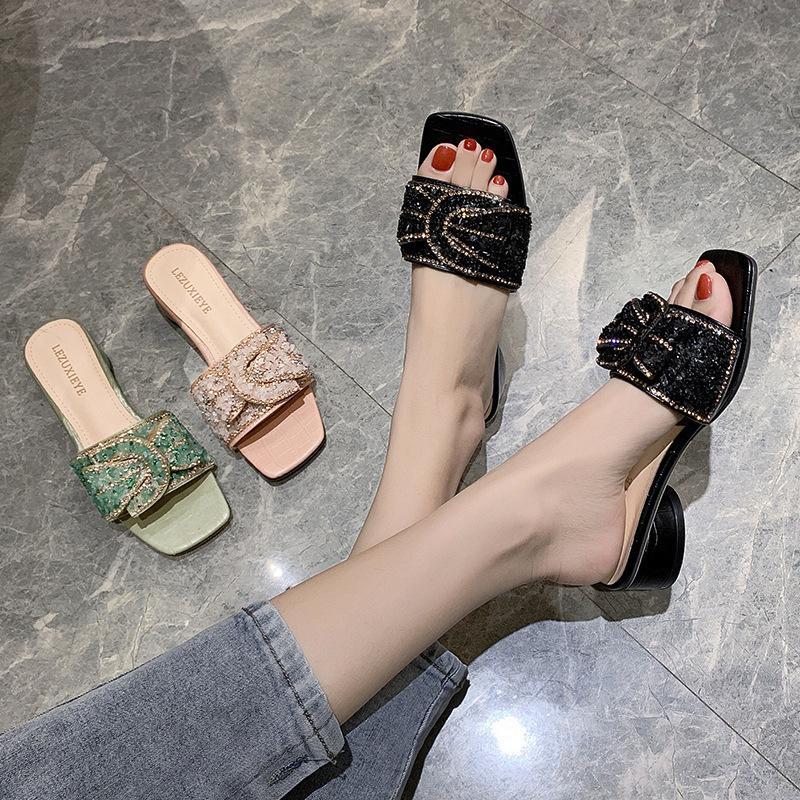 2020 nuovi pattini pistoni di parola strass delle donne di usura estate fata scarpe stile sandali tacco comodo donne spiaggia
