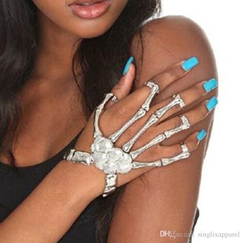 Silver/Golden Halloween Bracelet Exaggerated Punk Style Metallic Imitation Skeleton Mittens Bracelet Skeleton Halloween Accessories Adult