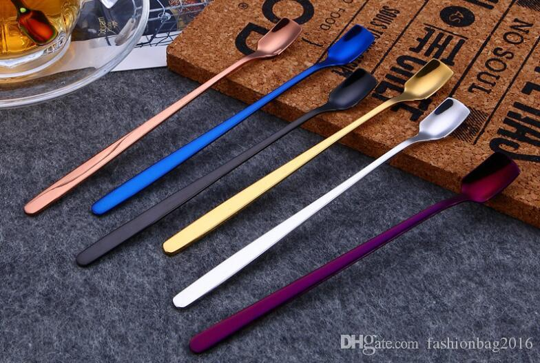 200 adet Buz Kaşıkları Paslanmaz Çelik Kare Kaşık Çevre Dostu Kokteyl Whisks Altın Swizzle Meyve Muddlers Içme Araçları