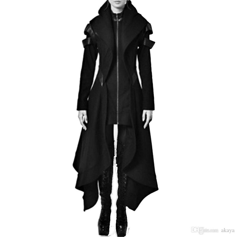 2018 Autumn gothic trincea annata di modo delle donne Cappotti sottili ragazze inverno caldo nero femminile gotico Cappotti