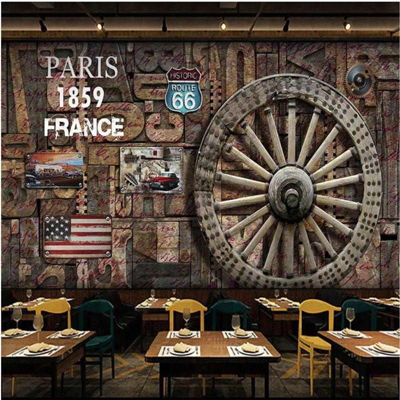 Personnalisé Mur Papier Peint 3D Européen Rétro Nostalgique Planche De Bois Texturé Roue Voiture Classique Fond Murales pour Restaurant Bar murs 3d