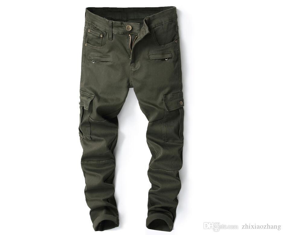 Autumn winter Military style jeans men biker jeans men trousers Straight stretch male denim pants masculino motorcycle fashion