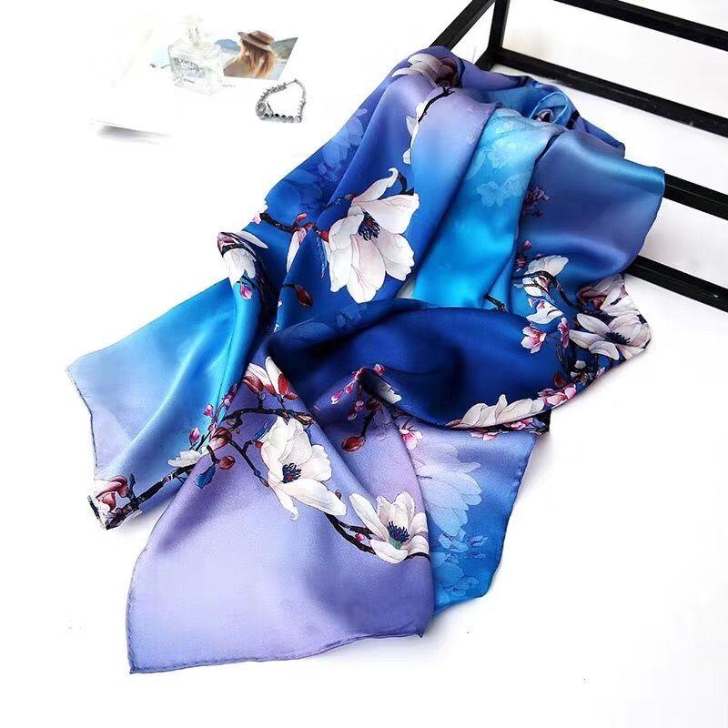 Frauenmädchen 100% Echte Maulbeerseide Satin SCHAL-Wickelschal Sarongs Silk Neckerchiefs 180 * 55cm Fabrikverkauf MISCHTE 30 PC / Los # 4110