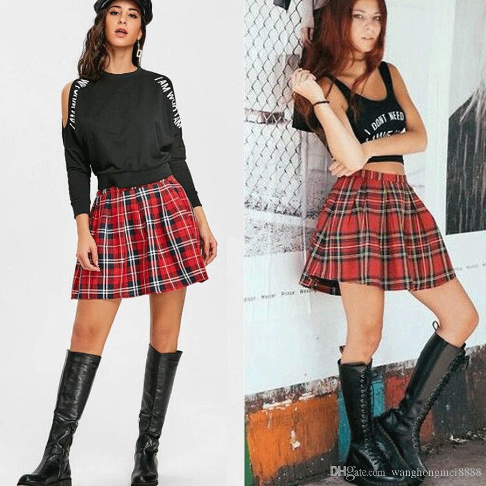새로운 봄 최신 스커트 여자 섹시한 캐주얼 귀여운 여름 격자 무늬 주름 치마 짧은 여자 치어 리더 의상