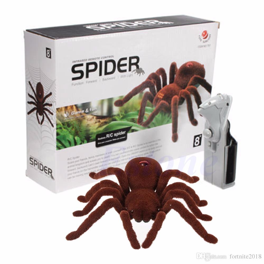 Remote Control Spider April fool Halloween Holiday Simulation Remote Control Spider Realistic RC Araneid Shine Eyes Tricky Scary Toy