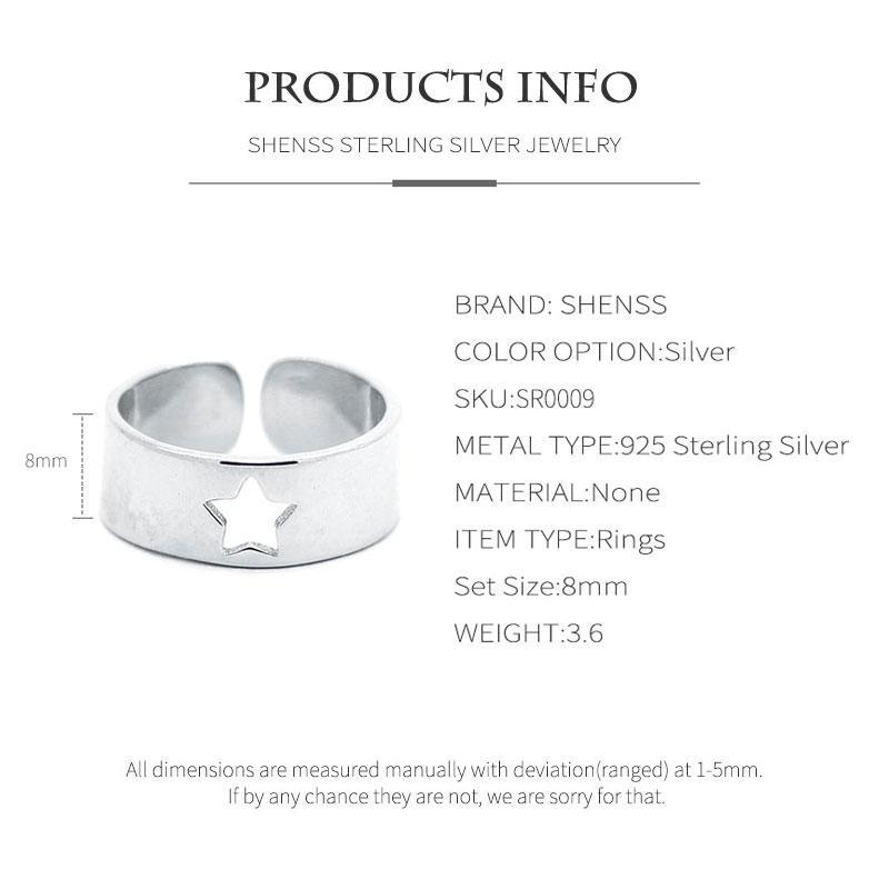 Elegant Quality 925 Rings Adjustable Vintage 925 rings Fashion Openwork Star Ring Fashion 925 Sterling Silver Ring