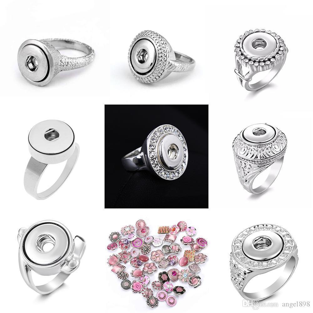 8 Arten Noosa Chunk Ingwerkeks Knopf Schmuck 12mm Metall-Verschluss-Knopf Ring Austauschbare Ingwerkeks Ringe