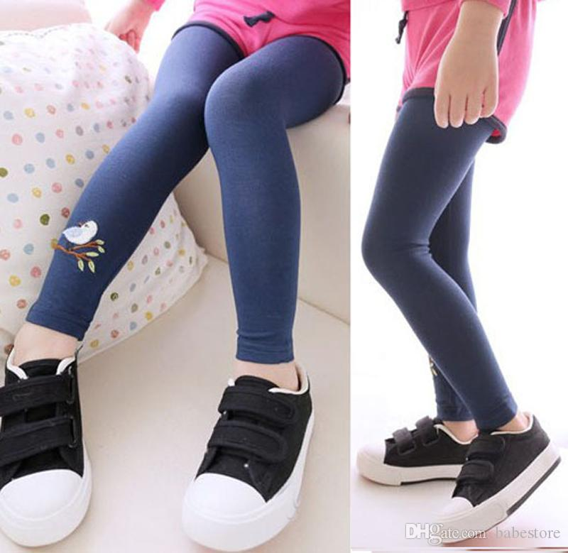 New Toddler Baby Girls Kids Skinny Pants Warm Leggings Girl Embroidered Bird Pattern Stretchy Pants Trousers Hot