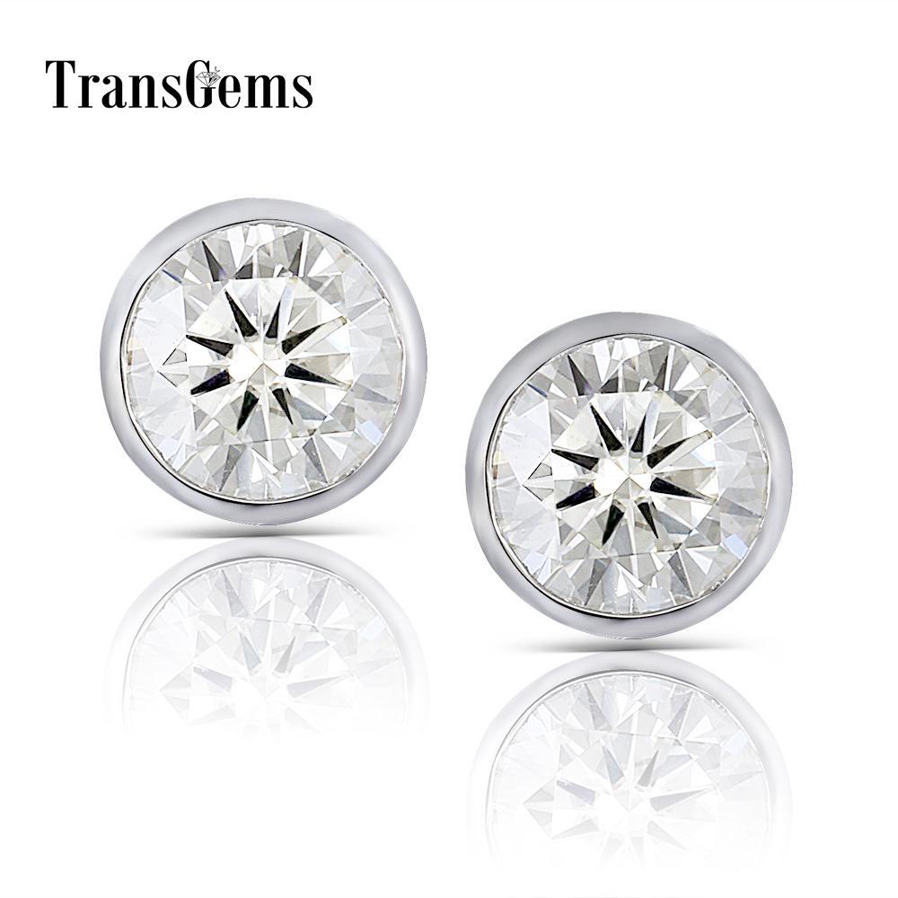 Transgems Solid 14k 585 White Gold 2ctw 6.5mm 1 Carat Moissanite Stud Earrings Bezel Setting Push Back Earrings For Women Y19032201