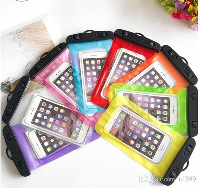 Водонепроницаемая сумка чехол для Iphone 6S Plus Samsung S6 S7 край Мобильного телефона Water Proof Сотового телефона Подводных мешки Сухих мешков с талреп