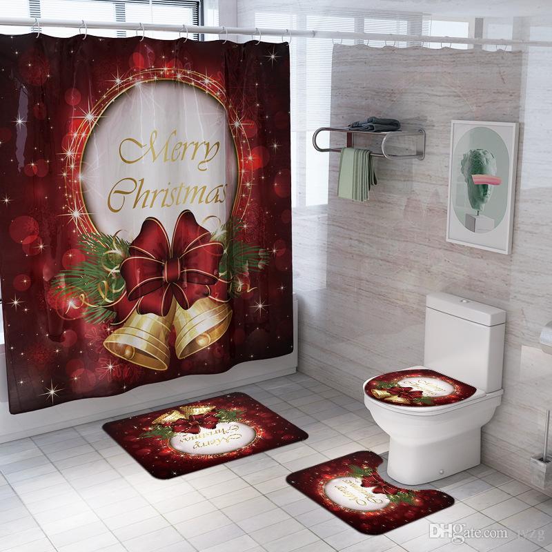 Feliz Navidad Feliz Año Nuevo Santa Claus Navidad Cortinas impermeables para Baño + Pedestal Alfombra tapa del inodoro cubierta de la estera de baño Set