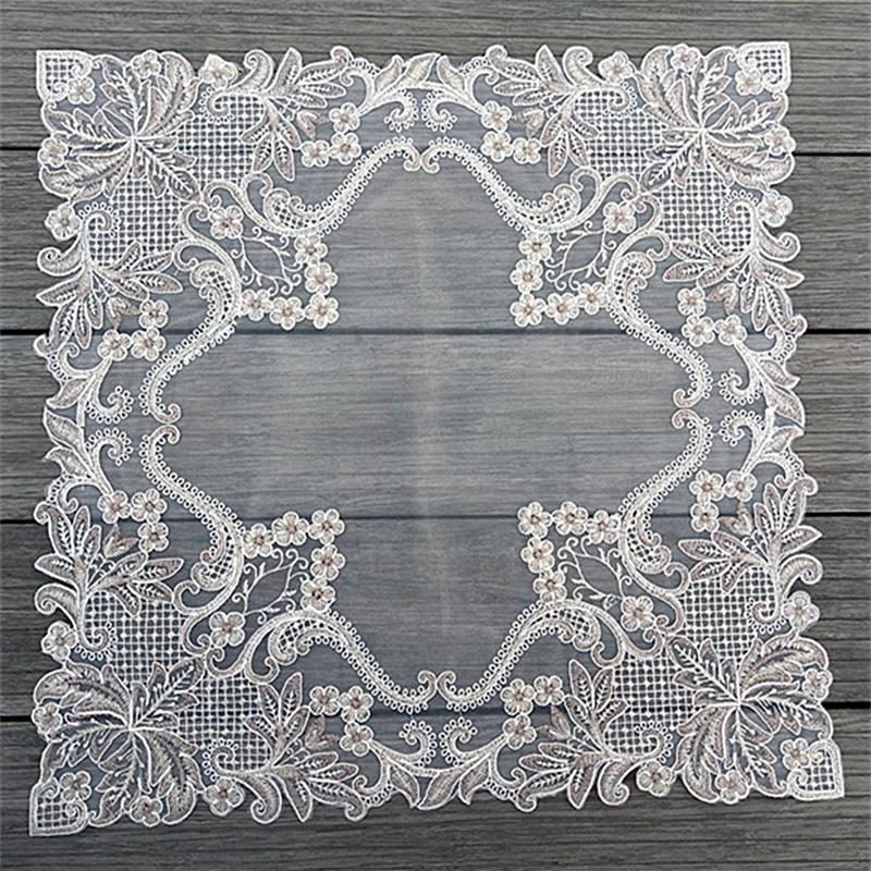 Modern square embroidery lace yarn cover towel kitchen coffee table cover cloth Christmas party wedding decoration