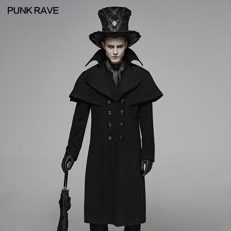 어깨 망토 형사의 미스터리 롱 코트 무대와 펑크 RAVE 남성 고딕 양식의 블랙 의상 겨울 남성 모직 트렌치 코트를 수행