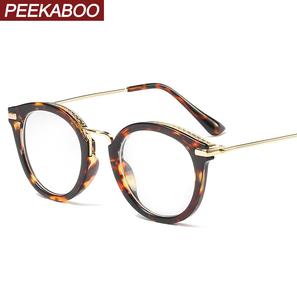 Peekaboo leopard glasses frames for women retro fashion eyeglasses optical half metal frame clear lens female