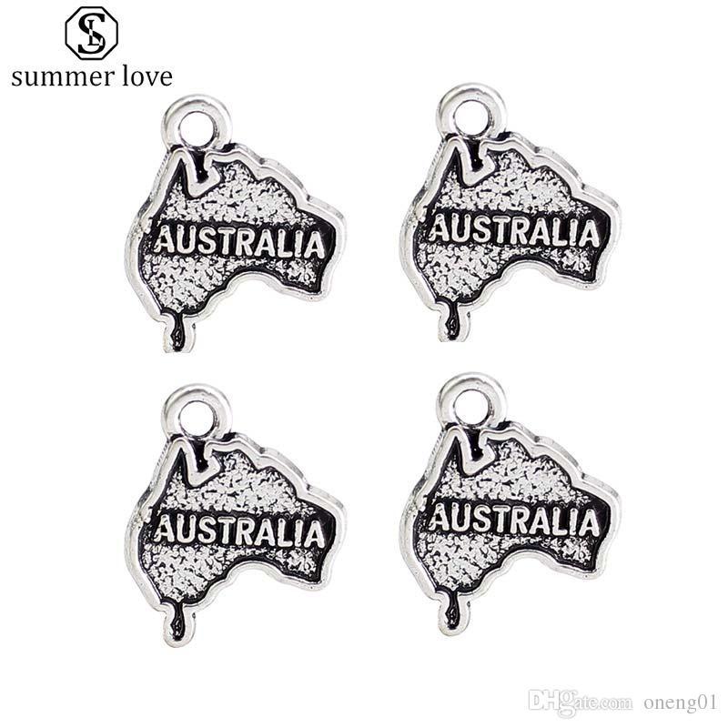 Einzigartiges Design USA AustraliaTexas Anhänger Armband Charme Vintage Silber Gold Zinklegierung Charme für Diy JewelrFashion Charm Diy Jewelry Making