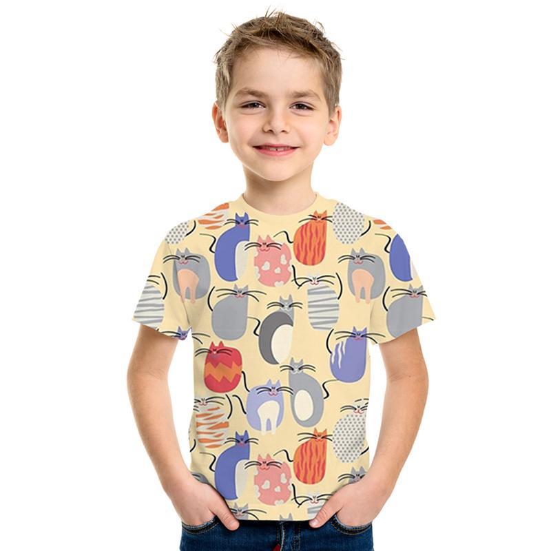 Impression T-shirt drôle de bande dessinée vêtements pour enfants motif chaton enfants 3D T-shirt de nouveaux vêtements hip-hop de la mode