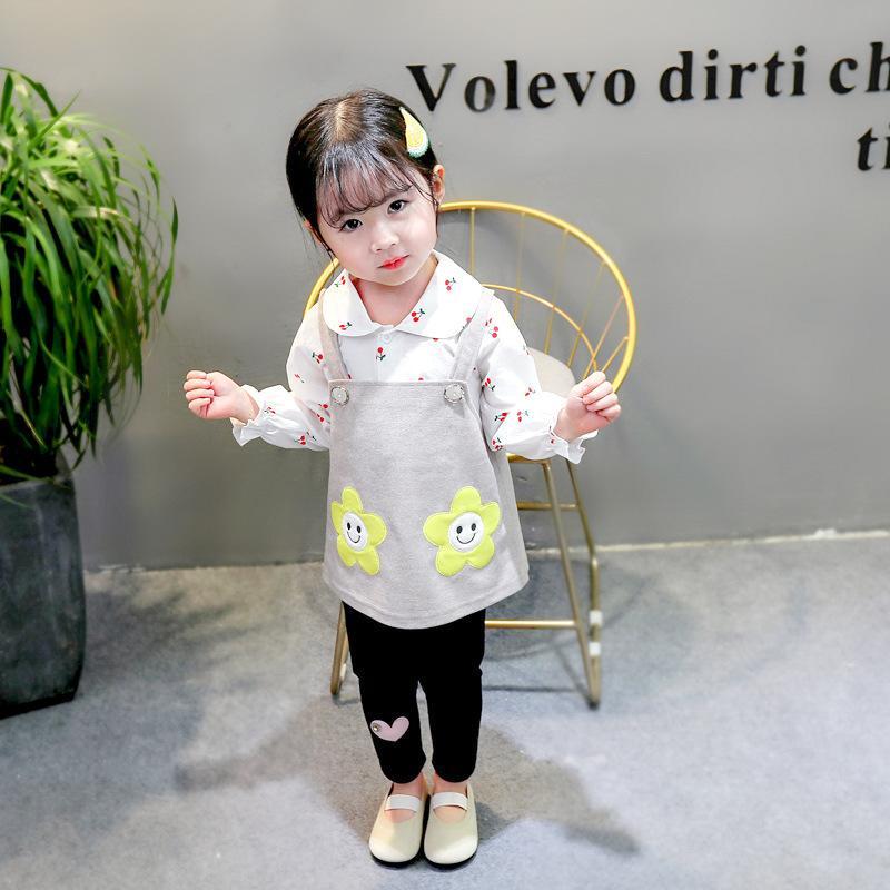 2020 di autunno della molla di modo dei bambini dei vestiti del bambino ragazze della stampa del risvolto della camicia pantaloni 3pcs / set Bambini Abbigliamento Bambino Toddler sportivo