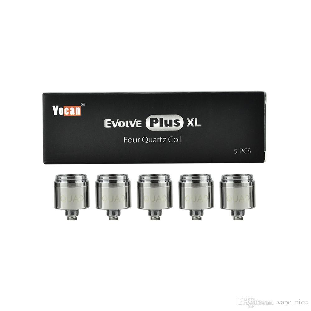 Authentic Yocan Evolve Plus XL Wax Coil Vaporzier Replacement Coils Quad W/ 4 Quatz Rod Coil Head Pure and Clean Vapor 100% Original